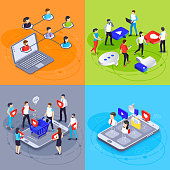 Social media isometric concept. Digital marketing and online advertising agency. Ads hash tag, likes and followers network customer viral content specialist campaigns vector illustration set