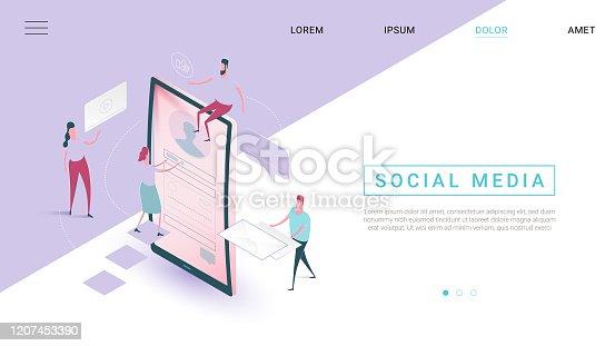 istock Social Media isometric Design Stil Web-Banner 1207453390