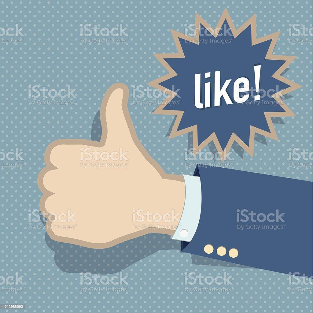 Social media like hand vector art illustration
