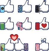 Social Media like thumbs up with personalities