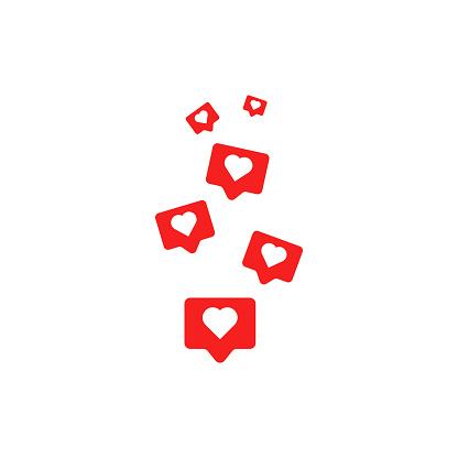 Social media like icons. Vector illustration in flat design
