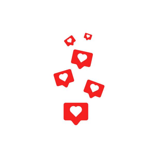 Social media like icons. Vector illustration in flat design Social media like icons. Vector illustration in flat design retail equipment stock illustrations