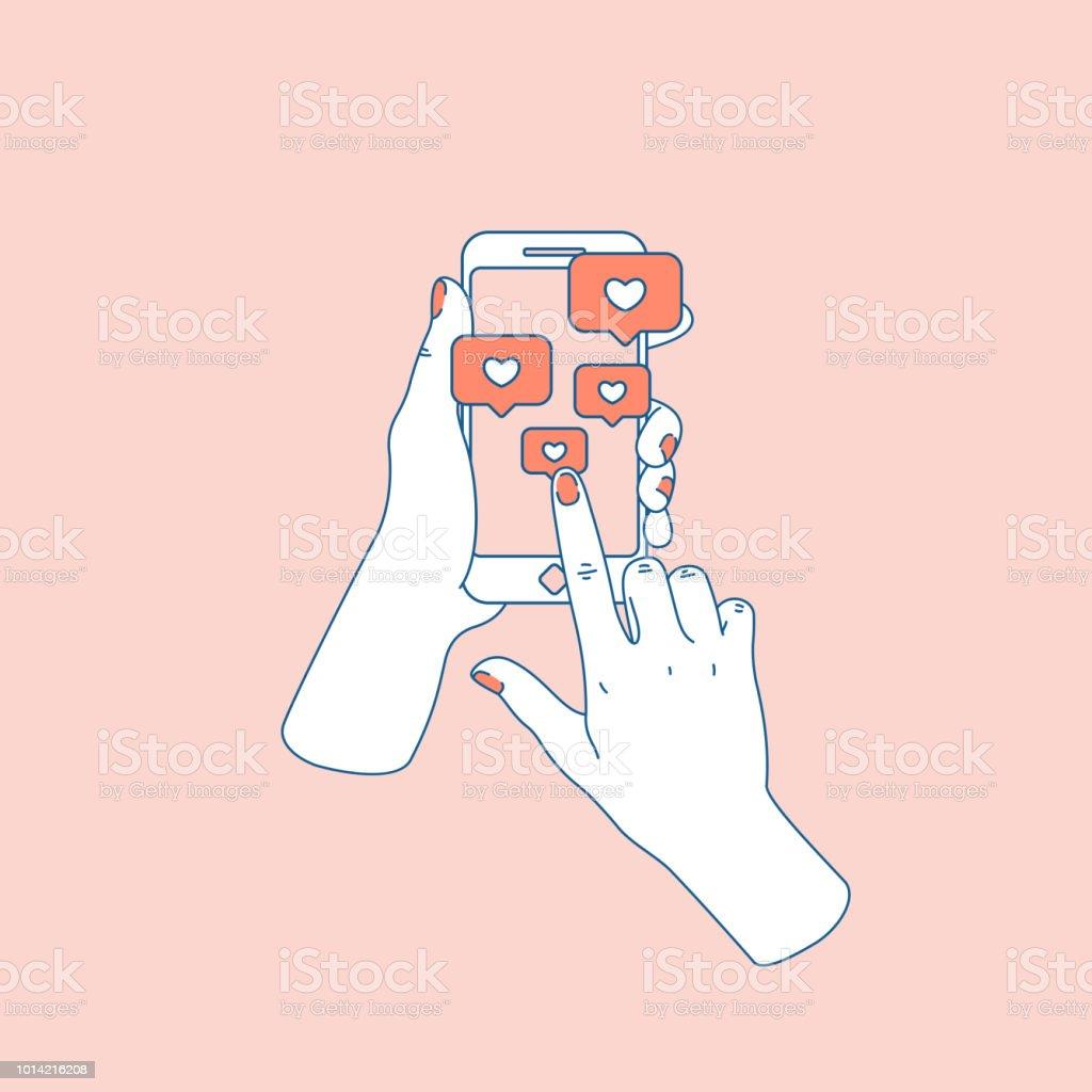 Sociala medier som. Kvinna hand med smartphone. Efter anmälan. Vektorillustration - Royaltyfri Använda en dator vektorgrafik