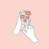 Social media like. Woman hand with smartphone. Following notification. Vector illustration