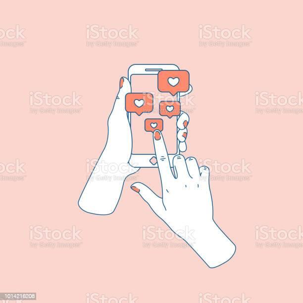 Sociala Medier Som Kvinna Hand Med Smartphone Efter Anmälan Vektorillustration-vektorgrafik och fler bilder på Använda en dator