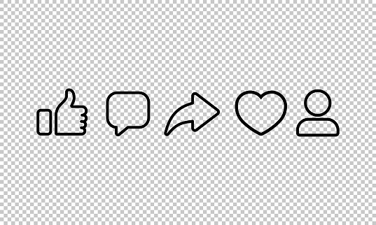 Social media line icon. Heart, like, share, comment, thumbs up on isolated transparent background. EPS 10