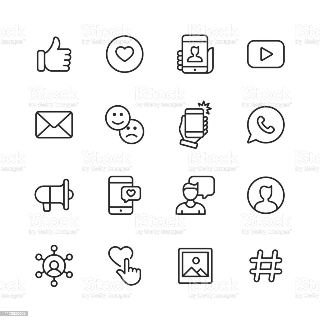 Social Media Line Icons. Editable Stroke. Pixel Perfect. For Mobile and Web. Contains such icons as Like Button, Thumb Up, Selfie, Photography, Speaker, Advertising, Online Messaging. 16 Social Media Outline Icons. Blogging stock vector