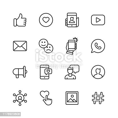 16 Social Media Outline Icons.