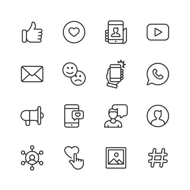 social media line icons. bearbeitbarer strich. pixel perfekt. für mobile und web. enthält symbole wie like button, thumb up, selfie, fotografie, sprecher, werbung, online-messaging. - fotohandy stock-grafiken, -clipart, -cartoons und -symbole