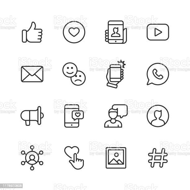 Social Media Line Icons Editable Stroke Pixel Perfect For Mobile And Web Contains Such Icons As Like Button Thumb Up Selfie Photography Speaker Advertising Online Messaging Stock Illustration - Download Image Now
