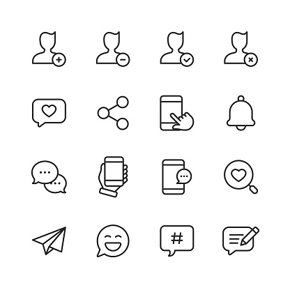 Social Media Line Icons. Editable Stroke. Pixel Perfect. For Mobile and Web. Contains such icons as Hashtag, Social Media, User Profile, Notification, Like Button, Online Messaging.