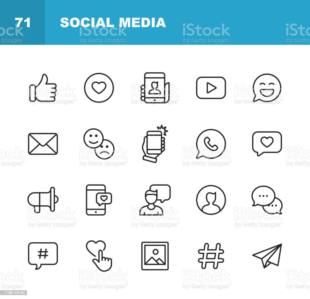 Social Media Line Icons. Editable Stroke. Pixel Perfect. For Mobile and Web. Contains such icons as Like Button, Thumb Up, Selfie, Photography, Speaker, Advertising, Online Messaging, Hashtag, User. 20 Social Media Outline Icons. Blogging stock vector