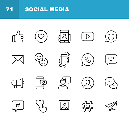 Social Media Line Icons. Editable Stroke. Pixel Perfect. For Mobile and Web. Contains such icons as Like Button, Thumb Up, Selfie, Photography, Speaker, Advertising, Online Messaging, Hashtag, User.