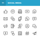 20 Social Media Outline Icons.