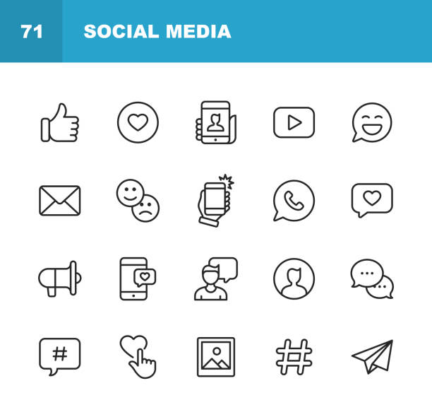 Social Media Line Icons. Editable Stroke. Pixel Perfect. For Mobile and Web. Contains such icons as Like Button, Thumb Up, Selfie, Photography, Speaker, Advertising, Online Messaging, Hashtag, User. vector art illustration