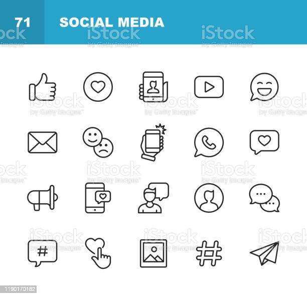 Social Media Line Icons Editable Stroke Pixel Perfect For Mobile And Web Contains Such Icons As Like Button Thumb Up Selfie Photography Speaker Advertising Online Messaging Hashtag User Stock Illustration - Download Image Now