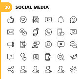 30 Social Media Outline Icons. Like, Thumb Up, Favourite, Profile, Video, Notification, Emoji, Email, Selfie, Phone, Talking, Touch Gesture, Advertising, Text Messaging, Hashtag, Photography, Online Messaging, User, Social Network, Blogging, Influencer.