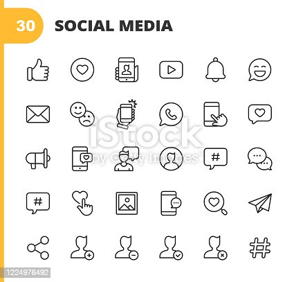 istock Social Media Line Icons. Editable Stroke. Pixel Perfect. For Mobile and Web. Contains such icons as Like Button, Thumb Up, Selfie, Photography, Speaker, Advertising, Online Messaging, Hashtag, Profile, Notification, Influencer, Emoji, Social Network. 1224976492
