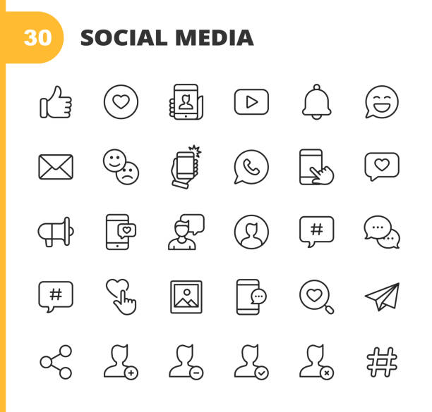 ilustrações, clipart, desenhos animados e ícones de ícones da linha de mídia social. curso editável. pixel perfeito. para mobile e web. contém ícones como como botão, polegar para cima, selfie, fotografia, palestrante, publicidade, mensagens online, hashtag, perfil, notificação, influenciador, emoji - social media
