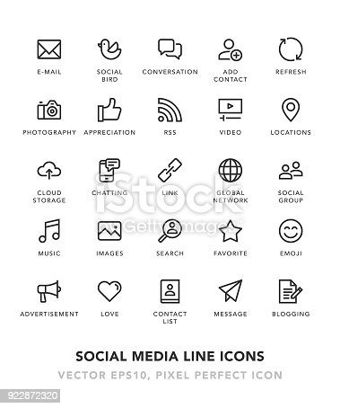Social Media Line Icons Vector EPS 10 File, Pixel Perfect Icons.