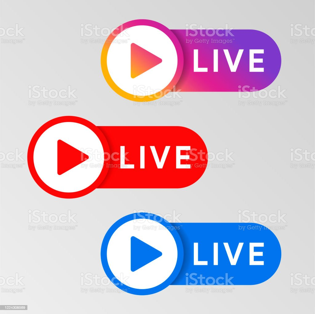 social media live badge instagram youtube facebook style sticker streaming and broadcasting icon red blue and purple color sign set vlog airing sticker vector illustration stock illustration download image now istock social media live badge instagram youtube facebook style sticker streaming and broadcasting icon red blue and purple color sign set vlog airing sticker vector illustration stock illustration download image now istock