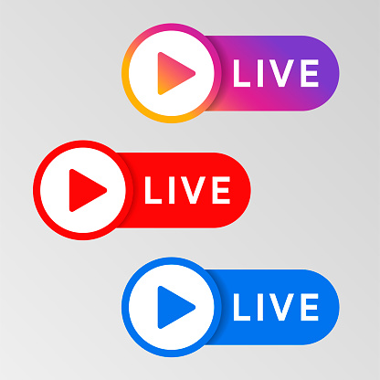 Social media live badge. Instagram, youtube, facebook style sticker. Streaming and broadcasting icon. Red. blue and purple color sign set. Vlog airing sticker. Vector illustration.