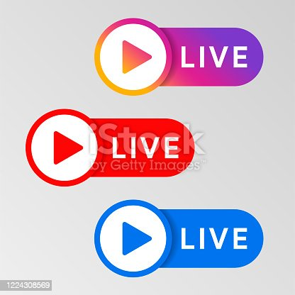 istock Social media live badge. Instagram, youtube, facebook style sticker. Streaming and broadcasting icon. Red. blue and purple color sign set. Vlog airing sticker. Vector illustration. 1224308569
