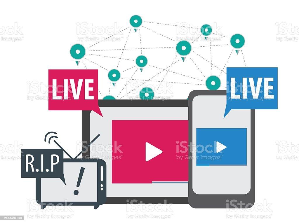 social media live stream concept vector vector art illustration