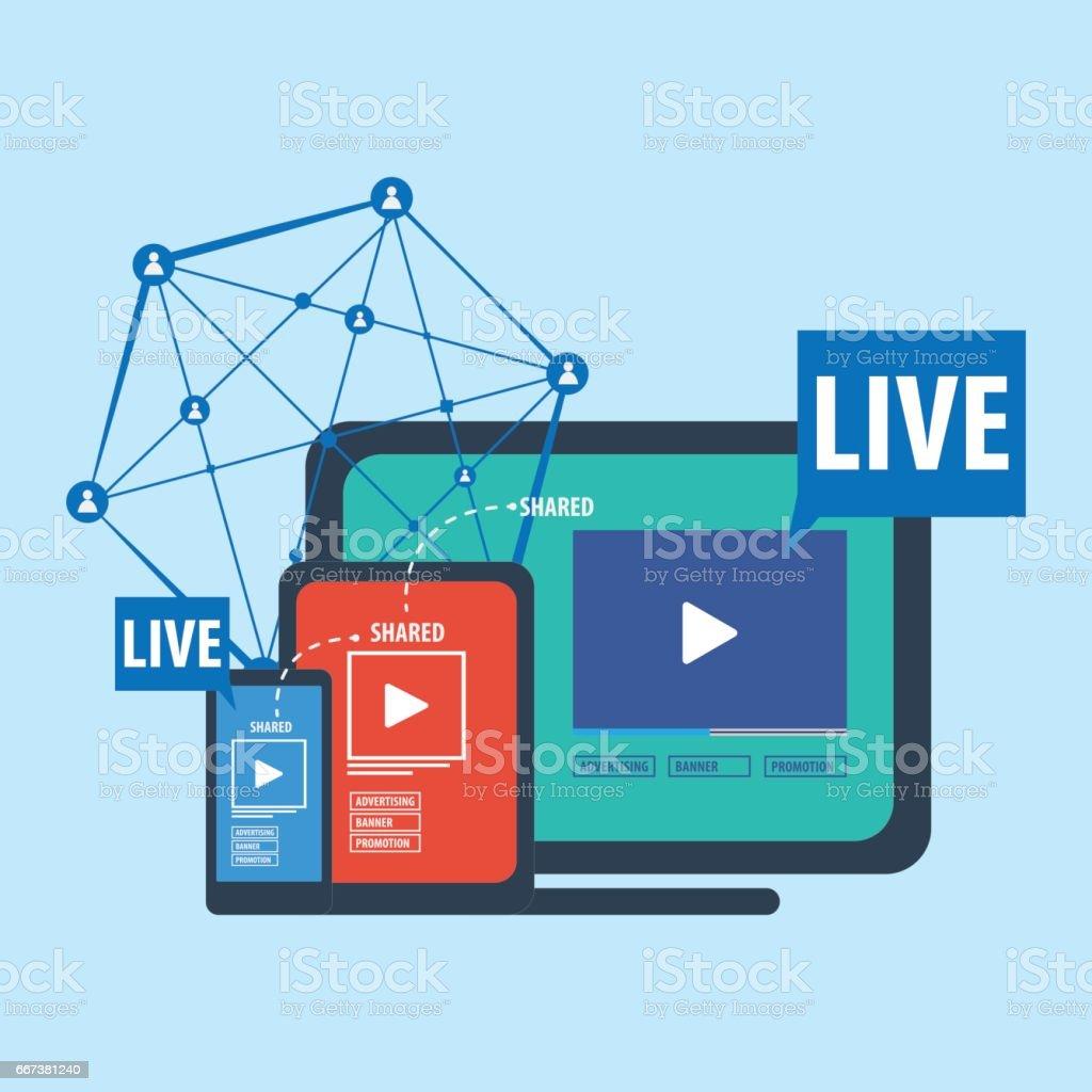 Social media live streaming concept vector art illustration