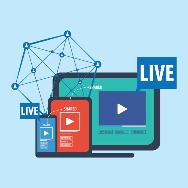 illustrations, cliparts, dessins animés et icônes de les médias sociaux live streaming concept - interview