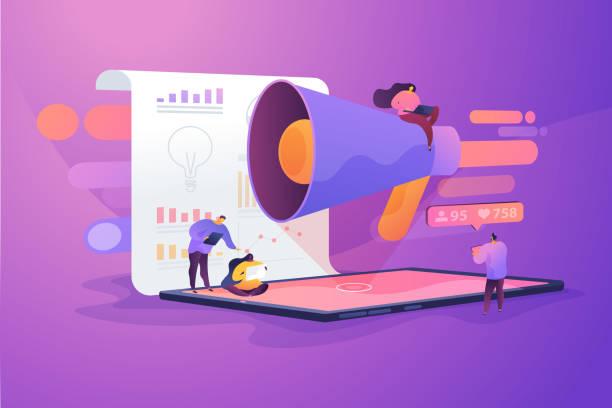illustrations, cliparts, dessins animés et icônes de illustration vectorielle de concept de gestion de médias sociaux. - marketing
