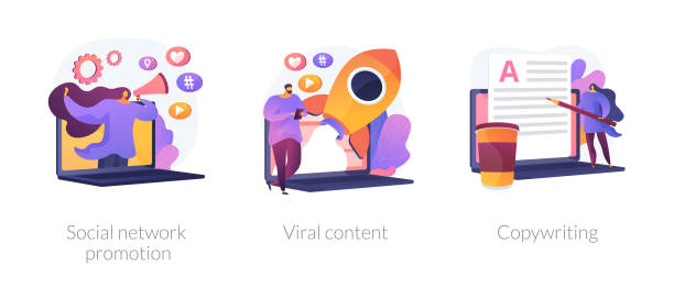 Social media management vector concept metaphors Digital marketing types icons set. SMM, influencer online advertising. Social network promotion, viral content, copywriting metaphors. Vector isolated concept metaphor illustrations. copywriter stock illustrations
