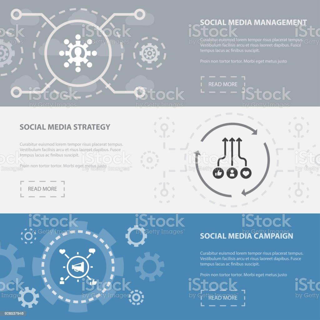 Social Media Marketing 3 Página Horizontal Banners Plantilla Con ...