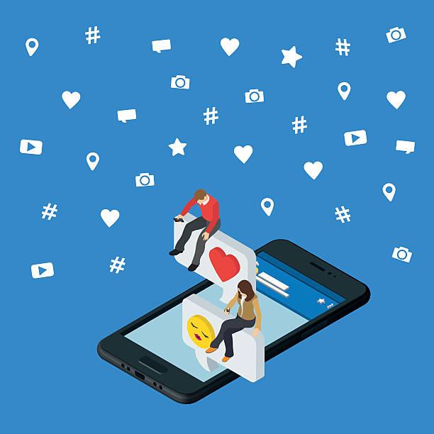 Social media marketing 3d isometric concept. Black 3d smartphone vector art illustration