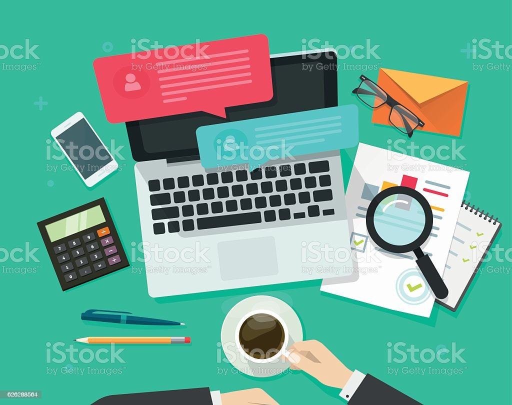 Social media marketing analysing, online dialog, statistics research, workplace vector art illustration
