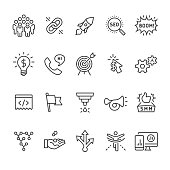 Social media marketing and SEO Business related vector icon set.