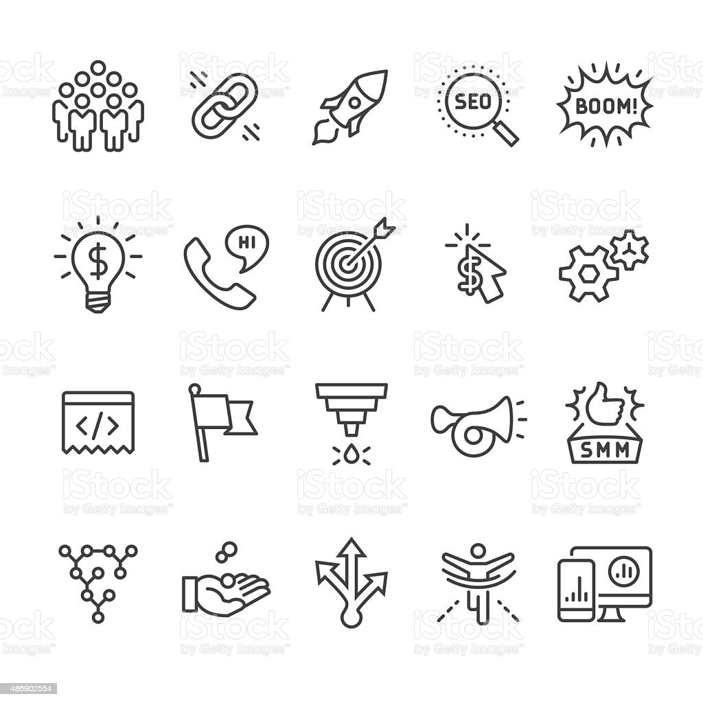 Social media marketing and SEO Business vector icons vector art illustration