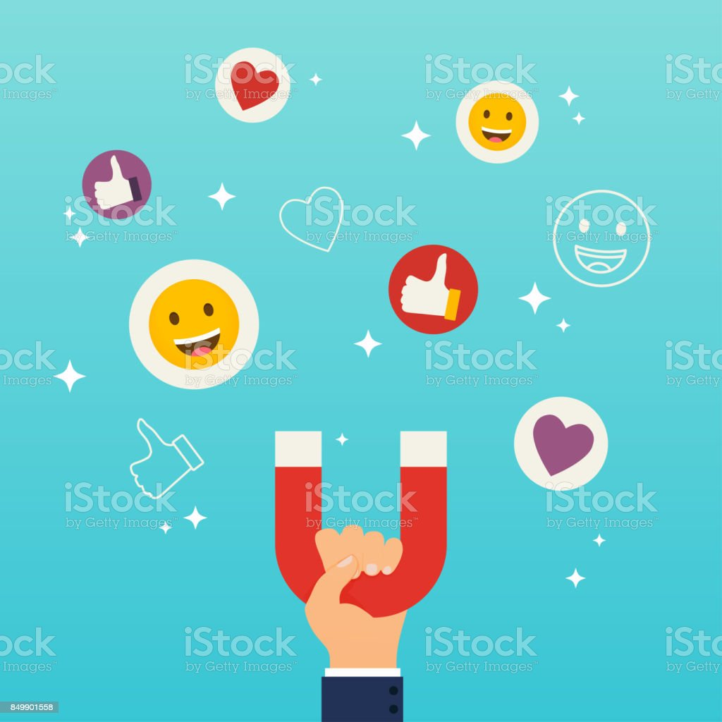 Social media marketing concept. Hand holding magnet attracting likes, hearts and reaction smileys. vector art illustration