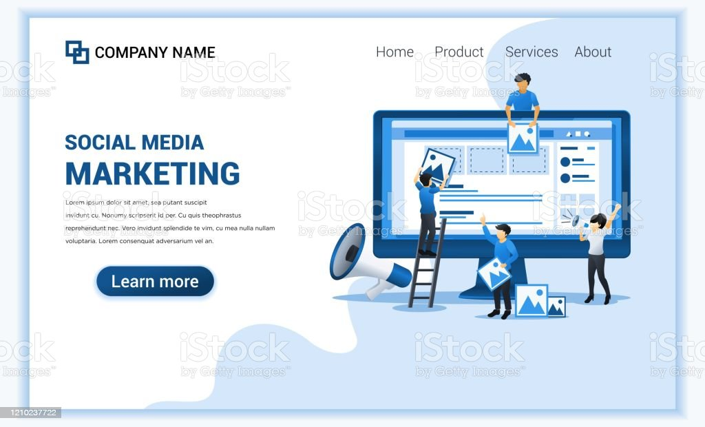Social Media Marketing Concept With Characters Business Online Advertising Marketing Presentation Can Use For Web Banner Landing Page Web Design Template Flat Vector Illustration Stock Illustration Download Image Now Istock