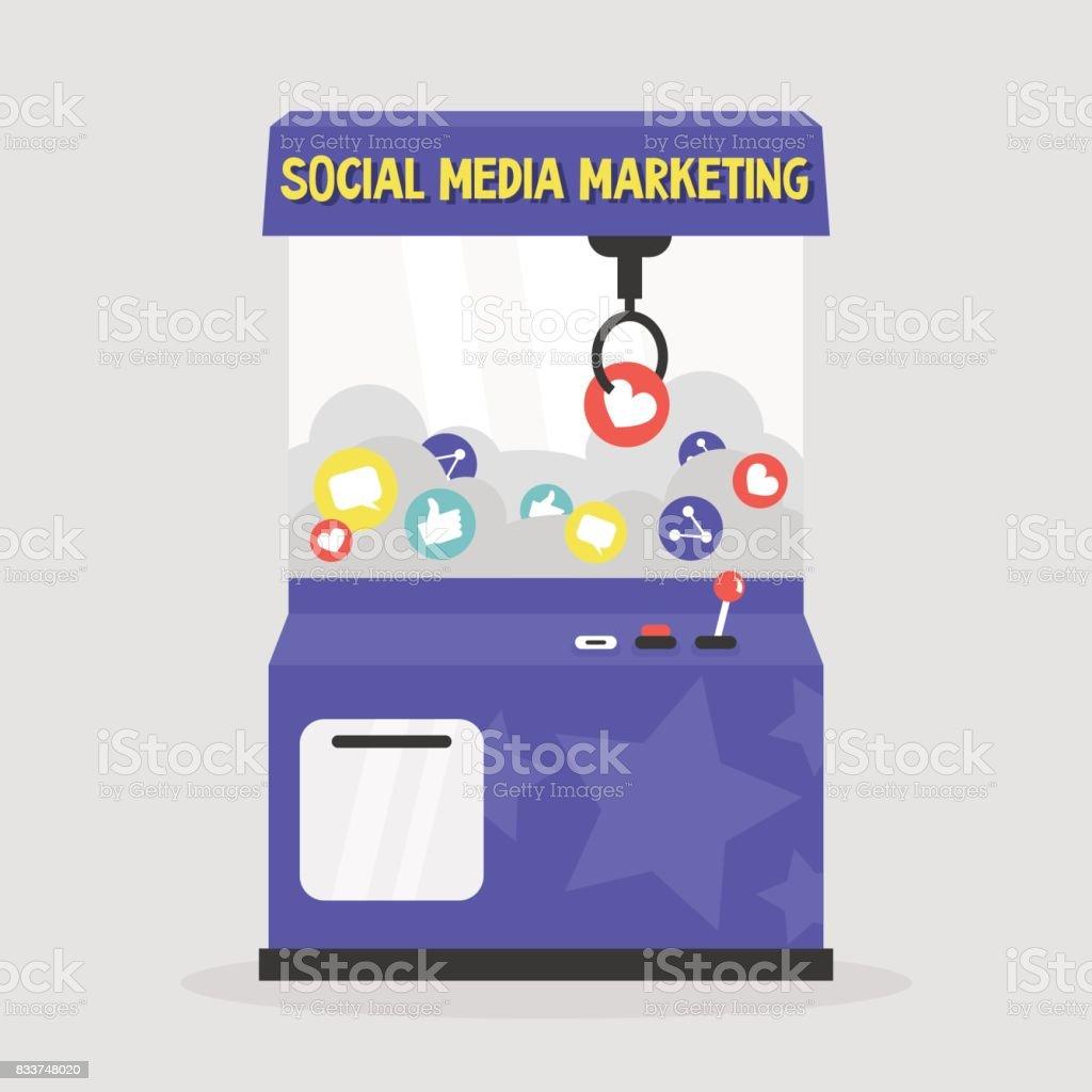 Social media marketing conceptual illustration. Grab a prize: like, share, comment / flat editable vector illustration, clip art. vector art illustration