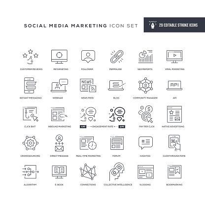 Social Media Marketing Editable Stroke Line Icons