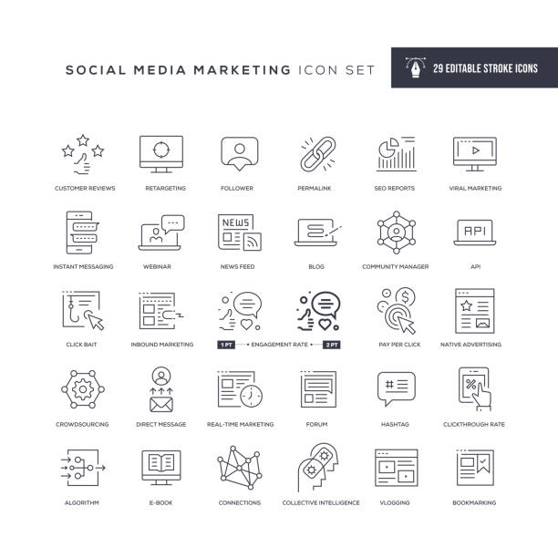 social media marketing editable stroke line icons - social media icons stock-grafiken, -clipart, -cartoons und -symbole