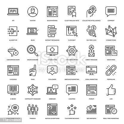 Social Media Marketing Icon Set - Thin Line Series