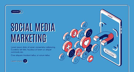 Social media marketing influencer concept banner