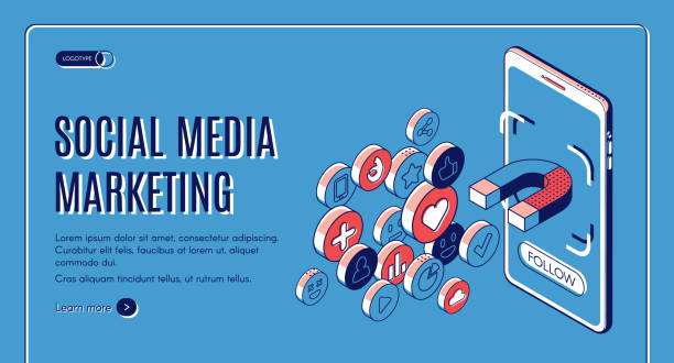 Social media marketing influencer concept banner vector art illustration