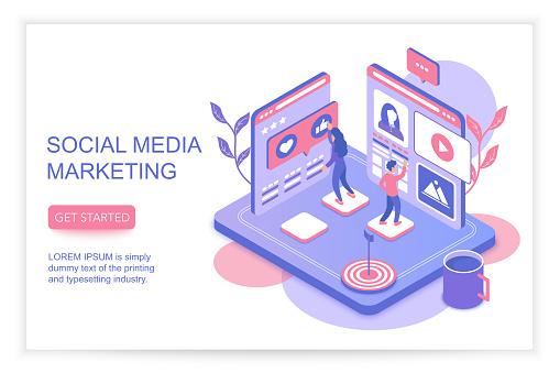 Social media marketing infographics concept with people 3d isometric landing website page template vector illustration.