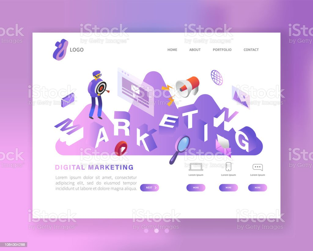 social media marketing isometric landing page template web page