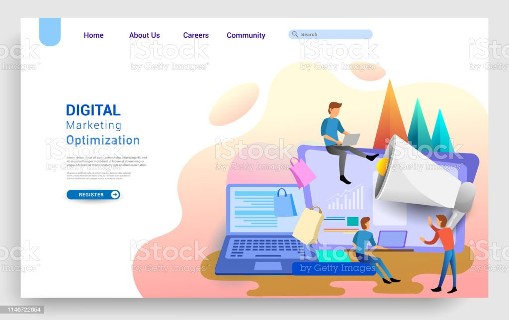 Social Media Marketing Landing Page Template Business Strategy Analytics And Brainstorming Modern Flat Design Concepts For Website Design Uiux And Mobile Website Development Stock Illustration Download Image Now Istock