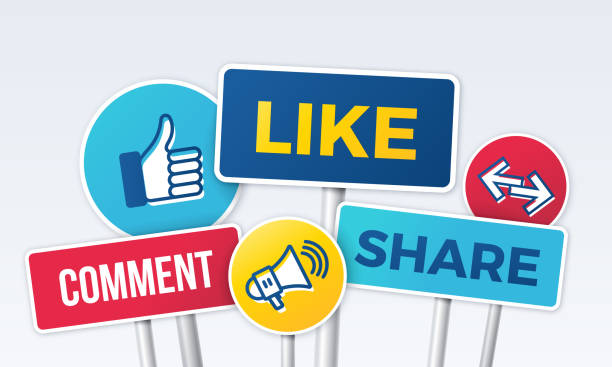 illustrazioni stock, clip art, cartoni animati e icone di tendenza di social media marketing like comment share signs - social media