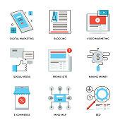 Thin line icons of social media marketing, digital campaign development, mobile e-commerce, viral video, website blogging. Modern flat line design element vector collection  illustration concept.